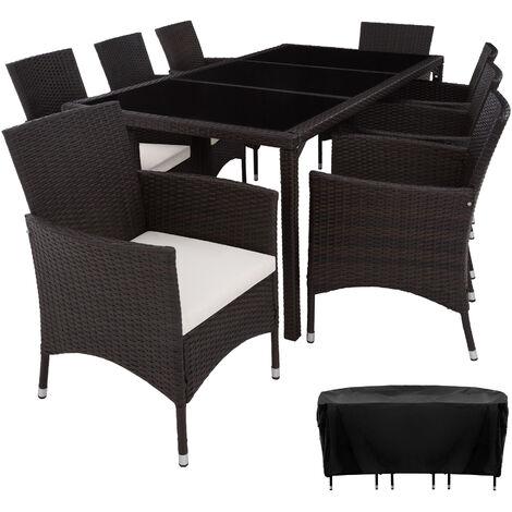 Conjunto de ratán 8+1 Valencia - mueble de exterior de poli ratán, muebles de ratán sintético con cojines y fundas, asientos de jardín con estructura de acero