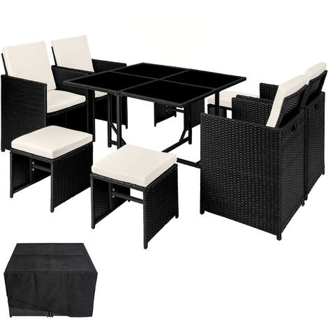 Conjunto de ratán Bilbao 4+4+1 funda protectora - mueble de exterior de poli ratán, muebles de ratán sintético con cojines y fundas, asientos de jardín con estructura de acero