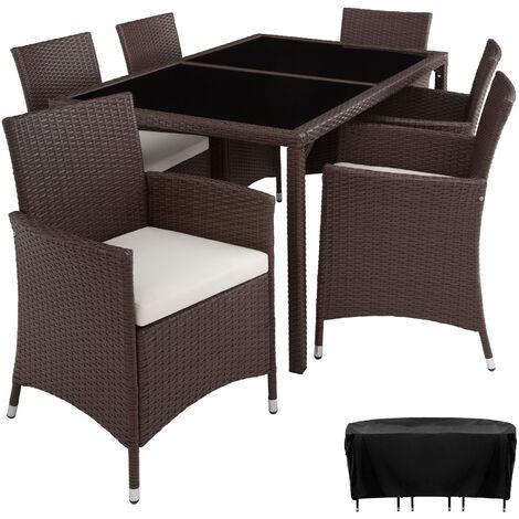 Conjunto de ratán Lisboa 6+1 - mueble de exterior de poli ratán, muebles de ratán sintético con cojines y fundas, asientos de jardín con estructura de acero