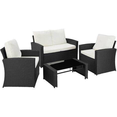Conjunto de ratán Lucca - mueble de exterior de poli ratán, muebles de ratán sintético con cojines y fundas, asientos de jardín con estructura de acero