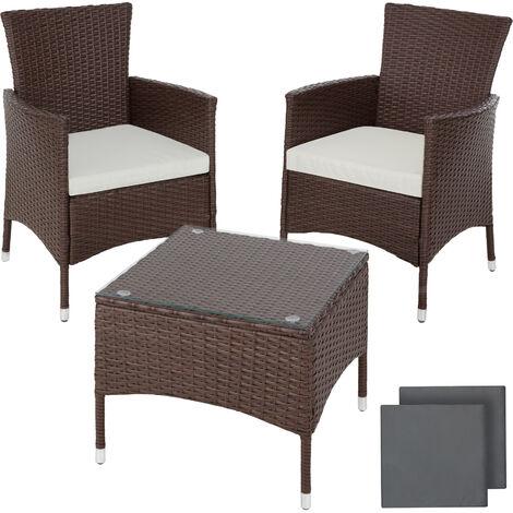 Conjunto de ratán Luzern - mueble de exterior de poli ratán, muebles de ratán sintético con cojines y fundas, asientos de jardín con estructura de acero