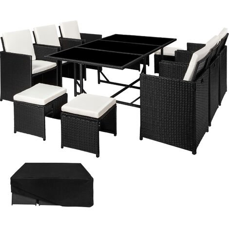 Conjunto de ratán Málaga 6+4+1, funda impermeable - mueble de exterior de poli ratán, muebles de ratán sintético con cojines y fundas, asientos de jardín con estructura de acero