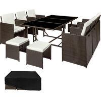 Conjunto de ratán Málaga 6+4+1, funda impermeable, variante 2 - mueble de exterior de poli ratán, muebles de ratán sintético con cojines y fundas, asientos de jardín con estructura de acero