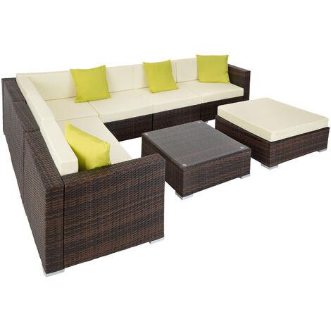 Conjunto de ratán Marbella - mueble de exterior de poli ratán, muebles de ratán sintético con cojines y fundas, asientos de jardín con estructura de aluminio