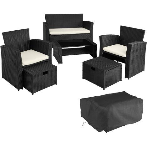 Conjunto de ratán Módena - mueble de exterior de poli ratán, muebles de ratán sintético con cojines y fundas, asientos de jardín con estructura de acero