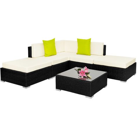 Conjunto de ratán Paris - mueble de exterior de poli ratán, muebles de ratán sintético con cojines y fundas, asientos de jardín con estructura de aluminio