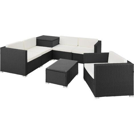 Conjunto de ratán Pisa - mueble de exterior de poli ratán, muebles de ratán sintético con cojines y fundas, asientos de jardín con estructura de acero
