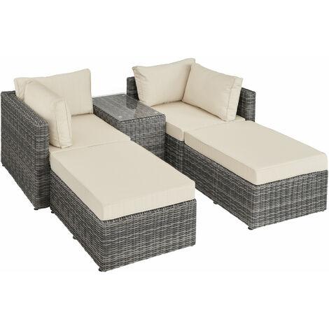 Conjunto de ratán San Domino con estructura de aluminio - mueble de exterior de poli ratán, muebles de ratán sintético con cojines y fundas, asientos de jardín con estructura de aluminio