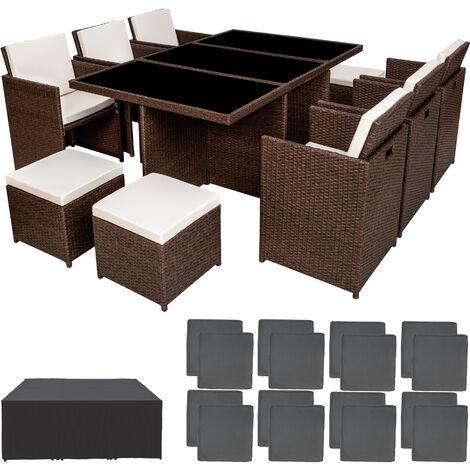 Conjunto de ratán sintético Nueva York - mueble de exterior de poli ratán, muebles de ratán sintético con cojines y fundas, asientos de jardín con estructura de aluminio - marrón antiguo