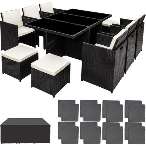 Conjunto de ratán sintético Nueva York - mueble de exterior de poli ratán, muebles de ratán sintético con cojines y fundas, asientos de jardín con estructura de aluminio