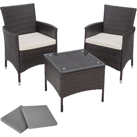 Conjunto de ratán y aluminio de jardín Atenas 2 sillas + mesa - mueble de exterior de poli ratán, muebles de ratán sintético con cojines y fundas, asientos de jardín con estructura de aluminio