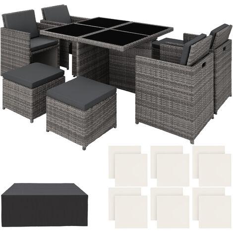 Conjunto de ratán y aluminio Manhattan, variante 2 - mueble de exterior de poli ratán, muebles de ratán sintético con cojines y fundas, asientos de jardín fáciles de limpiar