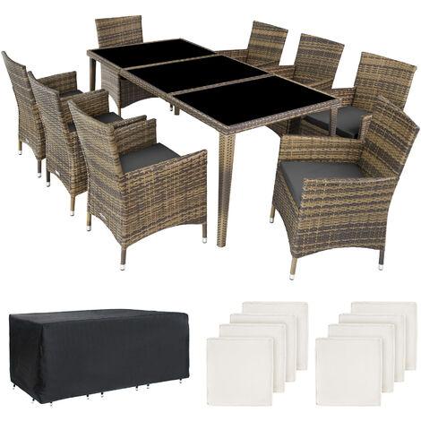 Conjunto de ratán y aluminio Mónaco - mueble de exterior de poli ratán, muebles de ratán sintético con cojines y fundas, asientos de jardín modernos
