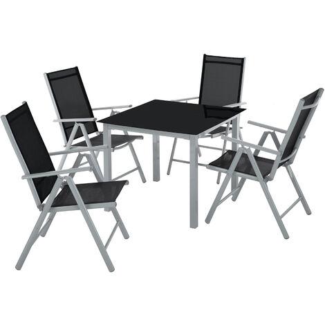 Conjunto de sillas de aluminio 4+1 - sillas plegables reclinables con mesa, mesa y sillas con estructura de aluminio, muebles de jardín con respaldo alto