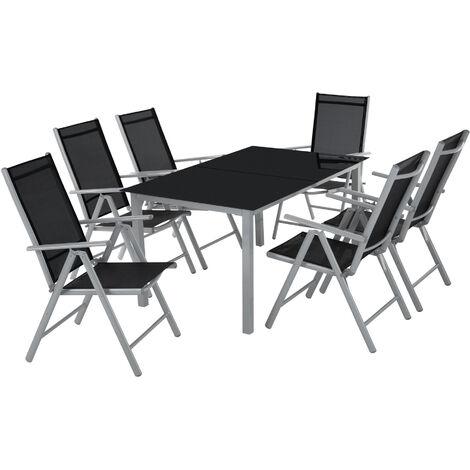 Conjunto de sillas de aluminio 6+1 - sillas plegables reclinables con mesa, mesa y sillas con estructura de aluminio, muebles de jardín con respaldo alto - gris claro
