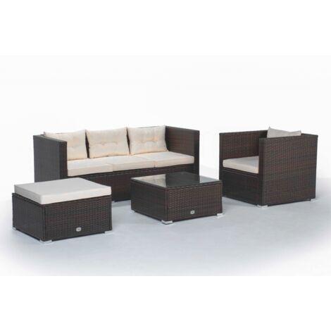 Conjunto de sofá con otomano, sillón y mesa Los Ángeles color marrón