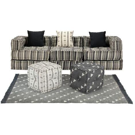 Conjunto de sofá modular 12 piezas tela de rayas