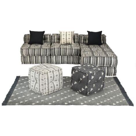 Conjunto de sofá modular 14 piezas tela de rayas