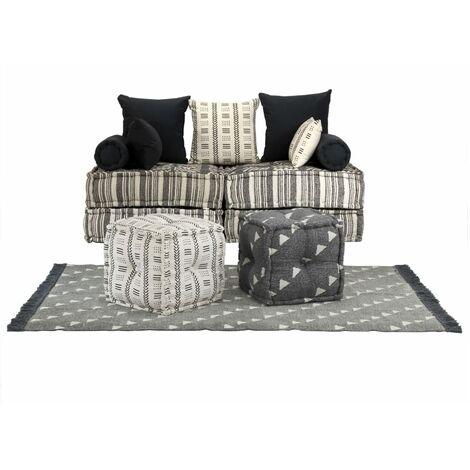 Conjunto de sofá modular 15 piezas tela de rayas