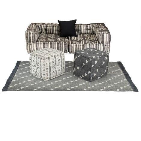 Conjunto de sofá modular 6 piezas tela de rayas