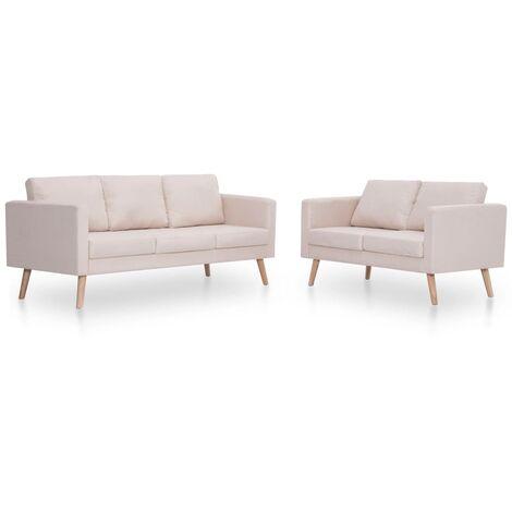 Conjunto de sofás 2 piezas tela color crema