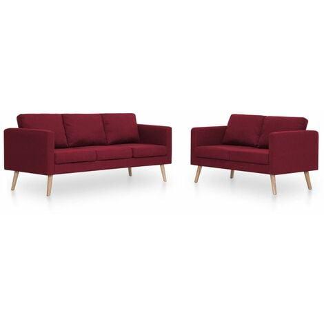 Conjunto de sofás 2 piezas tela color vino tinto