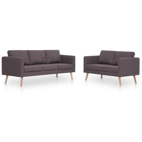 Conjunto de sofás 2 piezas tela gris taupe
