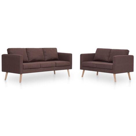 Conjunto de sofás 2 piezas tela marrón