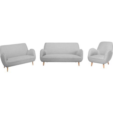 Conjunto de sofás 6 plazas gris claro KUOKI