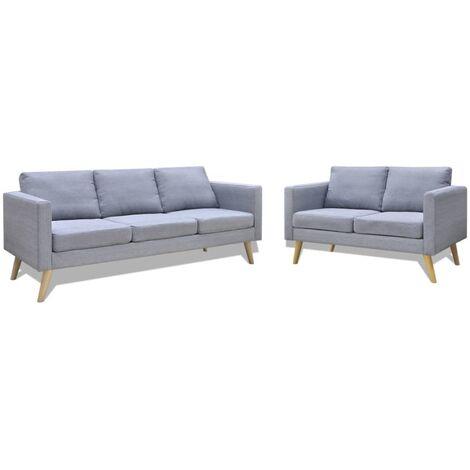Conjunto de sofás de 2 y 3 plazas de tela gris claro