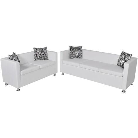 Conjunto de sofás de 2 y 3 plazas y sillón de cuero artificial blanco