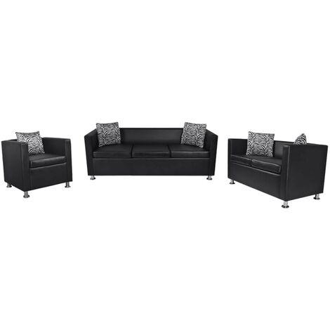 Conjunto de sofás de 2 y 3 plazas y sillón de cuero artificial negro