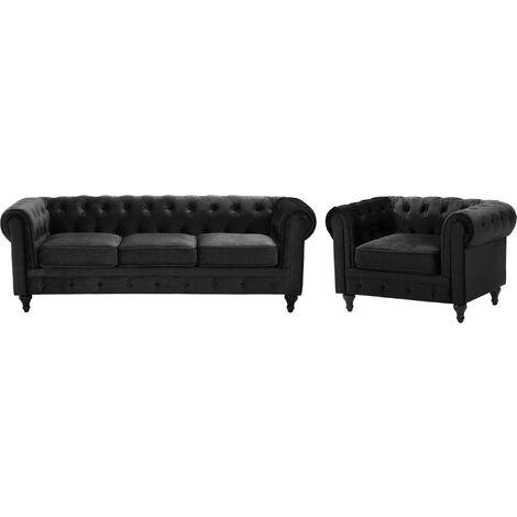 Conjunto de sofás tapizados 4 plazas negro CHESTERFIELD