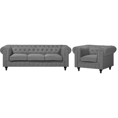 Conjunto de sofás tapizados gris para 4 personas CHESTERFIELD