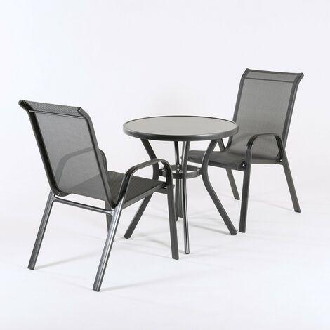 Conjunto de terraza, Mesa redonda de 72 cm de diámetro y 2 sillones de aluminio color antracita.