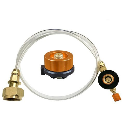 Conjunto de valvula estufa de camping al aire libre estufa de gas propano adaptador de recarga de GLP quemador plana del cilindro del tanque acoplador Botella adaptador Guardar inflable