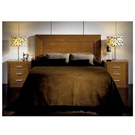 Conjunto Dormitorio matrimonio con cabecero, 2 mesitas en madera maciza