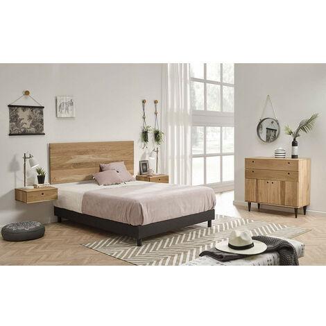 Conjunto Enzo Roble - Dormitorio Compuesto De Cabecero, 2 Mesitas Y Comoda, Madera Natural Roble Macizo Natural.
