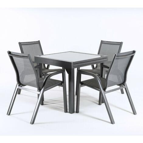 Conjunto exterior color antracita | Mesa extensible 80/160 y 4 sillones apilables | Aluminio reforzado | Textilene plata y negro | 4 plazas | Portes gratis