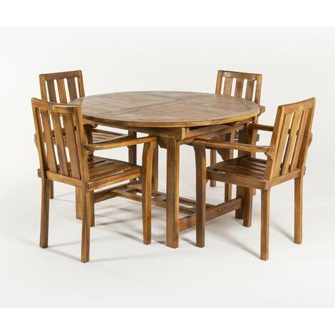 Conjunto exterior de madera teca | Mesa redonda extensible 120/180 cm y 4 sillones apilables | Madera teca grado A | Tratamiento al agua aplicado | Portes gratis