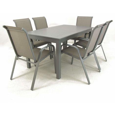 Conjunto exterior mesa extensible 152/210 cm y 6 sillones