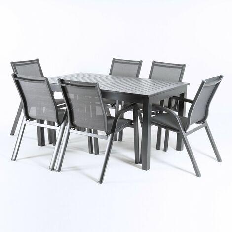 Conjunto exterior mesa extensible 152/210 cm y 6 sillones reclinables y apilables, Aluminio color antracita, 6 plazas