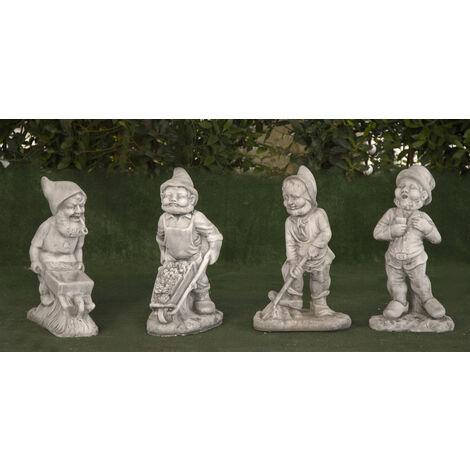 Conjunto Figuras de hormigón clásica Mod. Enanos de jardín 52, 54, 54, 53cm. (Lote de Cuatro Figuras)