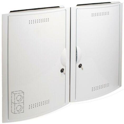 Conjunto ICT empotrar 2 registros vacío + cerradura + marco blanco SOLERA 5504/2BL