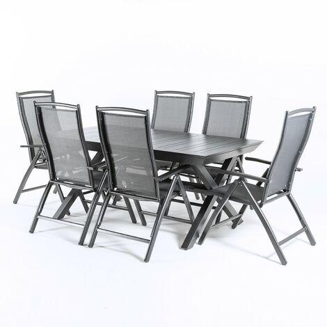 Conjunto jaridin. Mesa extensible 170- 240 y 8 sillones reclinables Antracita
