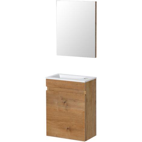 Conjunto lavabo - Mueble lavabo + Espejo + Lavabo sin grifo - Aquazuro Napoli - blanco brillante - 40 x 22 cm - Blanco