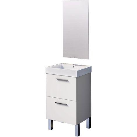 Conjunto Leiva de mueble de baño con espejo y lavamanos cerámico, de una puerta y un cajón, color blanco, 45 x 36 x 86cm.