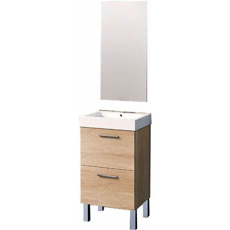 Conjunto Leiva de mueble de baño con espejo y lavamanos cerámico, de una puerta y un cajón, color roble natur, 45 x 36 x 86cm.