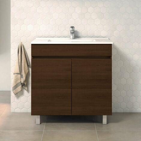 Conjunto LUUP, Mueble de lavabo 80cm, espejo, aplique led y columna