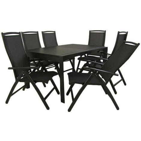 Conjunto mesa jardín extensible 160/220cm y 6 sillones reclinables con respaldo de 110 cm   Aluminio color antracita   6 plazas   Portes gratis - Turquesa